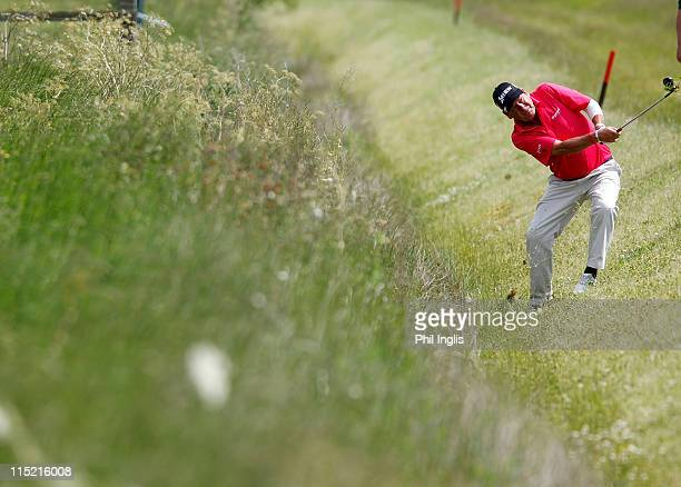 Kevin Spurgeon of England in action during the second round of the Handa Senior Masters presented by the Stapleford Forum played at Stapleford Park...