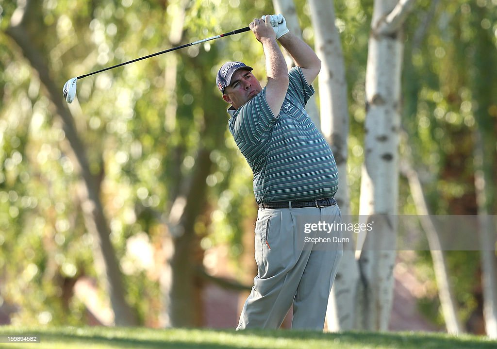 Kevin Stadler hits his tee shot on the second hole during the third round of the Humana Challenge In Partnership With The Clinton Foundation on the Palmer Private Course at PGA West on January 19, 2013 in La Quinta, California.