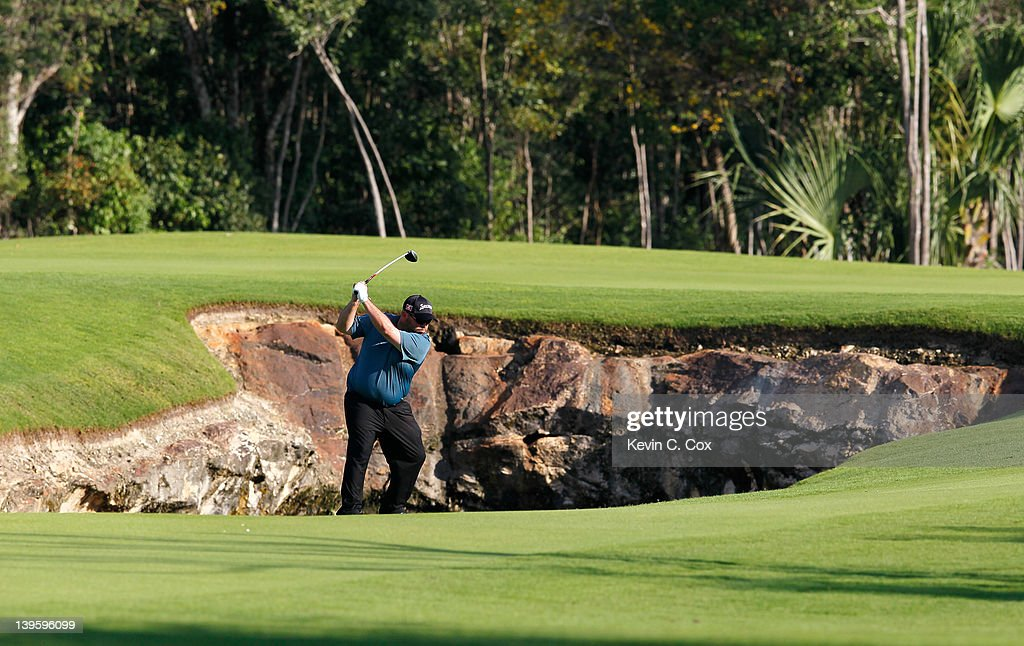 Kevin Stadler of the United States plays his second shot on the seventh hole during the first round of the Mayakoba Golf Classic at Riviera Maya-Cancún held at El Camaleon Golf Club at Mayakoba on February 23, 2012 in Playa del Carmen, Mexico.