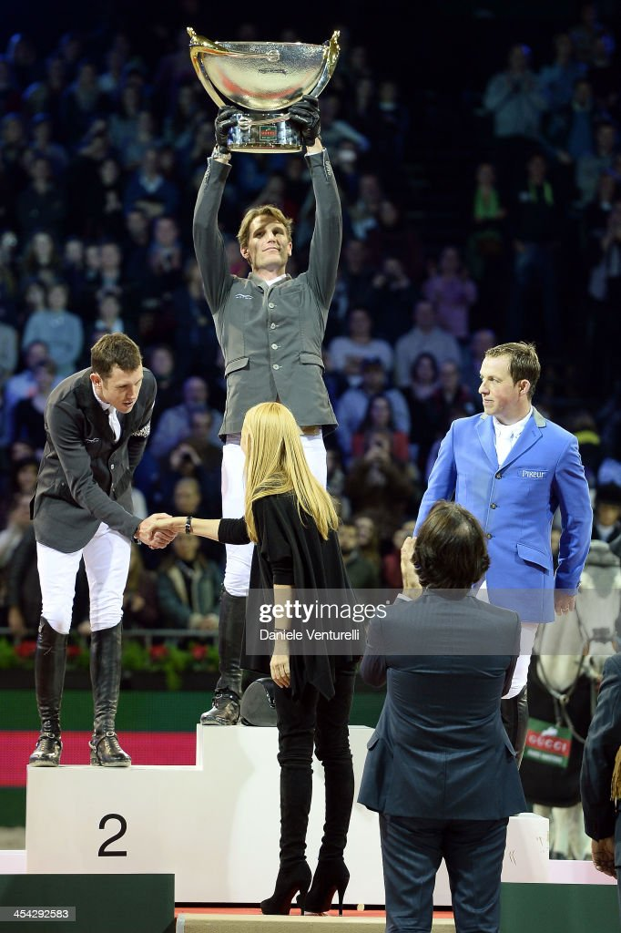 Kevin Staut, Fernanda Ameeuw, Patrizio Di Marco and Frida Giannini attend day 4 of the Gucci Paris Masters 2013 at Paris Nord Villepinte on December 8, 2013 in Paris, France.