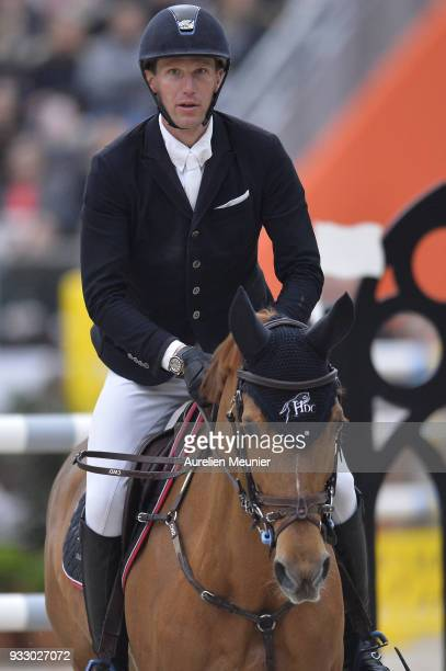 Kevin Staut of France on Ayade de Septon et HDC competes during the Saut Hermes at Le Grand Palais on March 17, 2018 in Paris, France.