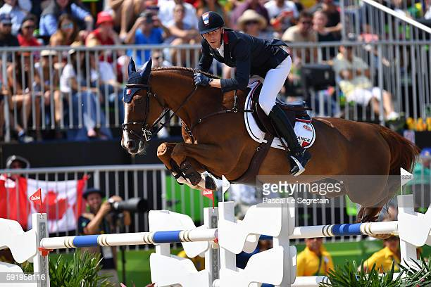 Kevin Staut of France on Reveur de Hurtebise rides during the Equestrian Jumping individual final round A of the Rio 2016 Olympic games at the...