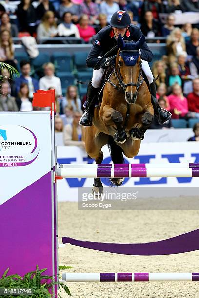 Kevin Staut of France rides For Joy van't Zorgvliet HDC during the Longines FEI World Cup Final Jumping at Scandinavium on March 25 2016 in...