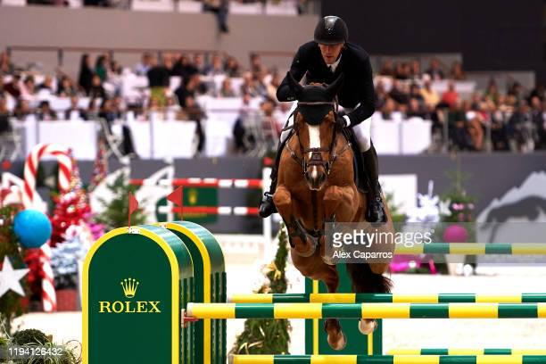 Kevin Staut of France rides Viking d'la Rousserie during the Rolex Grand Prix, part of the Rolex Grand Slam of Show Jumping at CHI de Geneve, at...