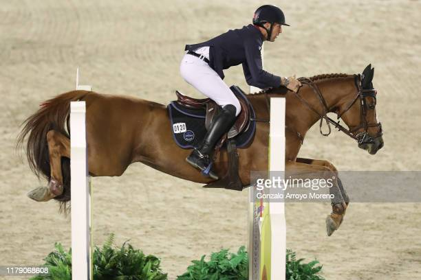 Kevin Staut of France rides Viking D´la Rousserie in Hyundai Cup of the City of Barcelona during Day 2 of Longines FEI Jumping Nations Cup Final at...