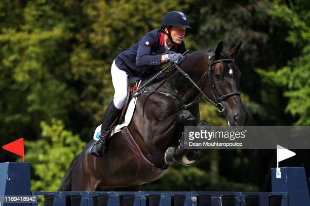 Kevin Staut of France riding Calevo 2 competes during Day 3 of the Longines FEI Jumping European Championship speed competition against the clock...