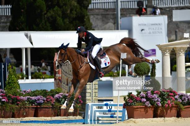 Kevin Staut of France riding Reveur De Hurtebise H D C during the FEI Nations Cup Piazza di Siena on May 26, 2017 in Villa Borghese Rome, Italy.