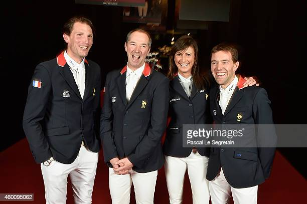 Kevin Staut, Patrice Delaveau, Penelope Leprevost and Simon Delestre pose during the Gucci Paris Masters 2014 on December 4, 2014 in Villepinte,...