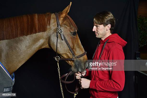 Kevin Staut poses backstage with Reveur de Hurtebise HDC during the Gucci Paris Masters 2014 on December 5, 2014 in Villepinte, France.