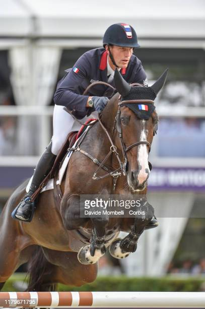 Kevin Staut riding Urhelia Lutterbach of France Longines FEI Jumping Nations Cup Final Competición Final on October 6, 2019 in Barcelona, Spain.