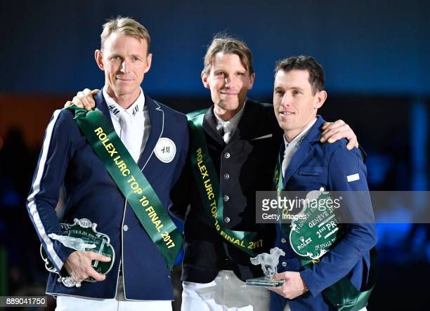 Kevin Staut winner of the Rolex IJRC Top 10 trophy poses with Peder Fredricson 3rd place and Brash Scott 2nd place at Palexpo on December 9, 2017 in...