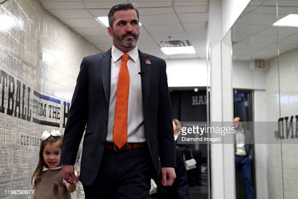 Kevin Stefanski alongside his daughter Juliet enters FirstEnergy Stadium on the day he is introduced as the Cleveland Browns new head coach on...