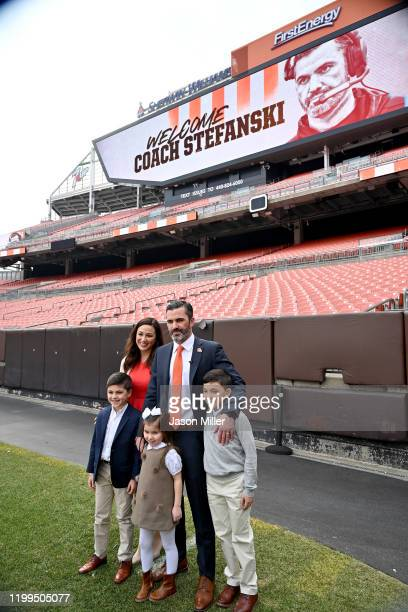 Kevin Stefanski poses for a picture with his wife Michelle and children Will Gabe and Juliet after being introduced as the Cleveland Browns new head...