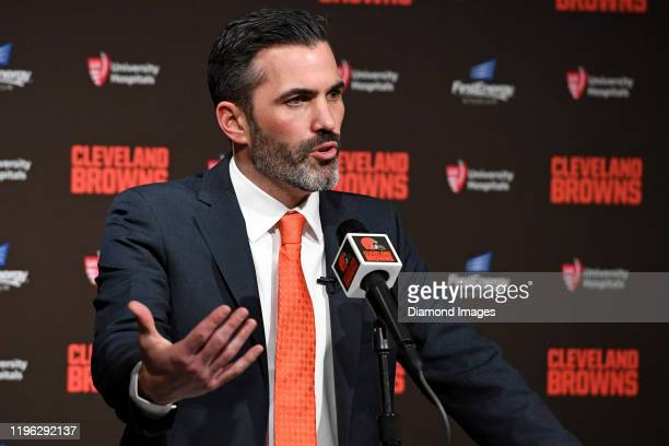Kevin Stefanski speaks to the media after bing introduced as the Cleveland Browns new head coach on January 14 2020 at FirstEnergy Stadium in...