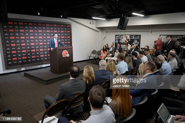 Kevin Stefanski talks to the media after being introduced as the Cleveland Browns new head coach on January 14 2020 in Cleveland Ohio