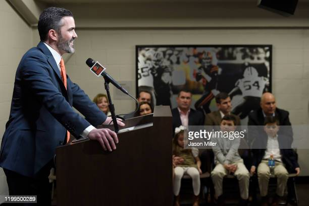 Kevin Stefanski talks to the media as his family watches after being introduced as the Cleveland Browns new head coach on January 14 2020 in...