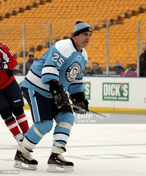 Kevin Stevens of the Pittsburgh Penguins skates against the Washington Capitals during the 2011 NHL Winter Classic Alumni Game on December 31 2010 at...