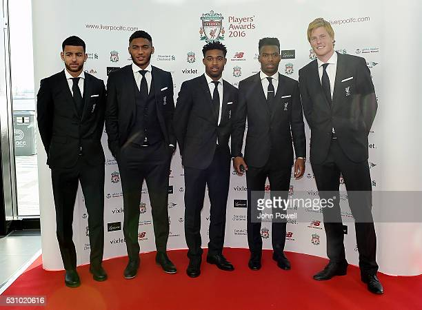 Kevin Stewart Joe Gomez Jordon Ibe Dabiel Sturridge and Adam Bogdan of Liverpool arrive at the Liverpool FC End of Season Awards at The Exhibition...
