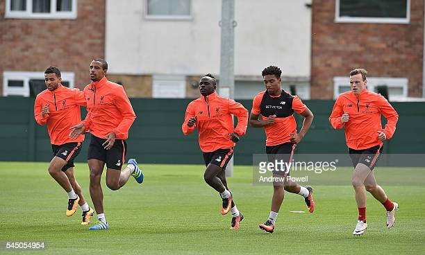 Kevin Stewart Joel Matip Sadio Mane Jordon Ibe and Brad Smith of Liverpool duringa training session at Melwood Training Ground on July 5 2016 in...
