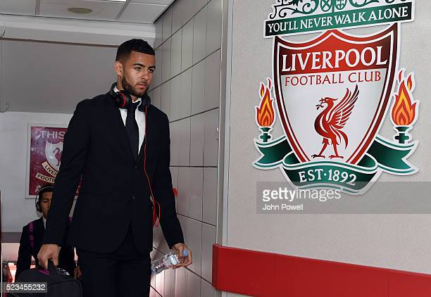Kevin Stewart of Liverpool arrives before the Barclays Premier League match between Liverpool and Newcastle United at Anfield on April 23, 2016 in...