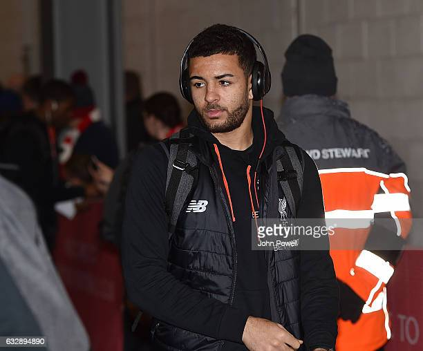 Kevin Stewart of Liverpool arrives before the Emirates FA Cup Fourth Round match between Liverpool and Wolverhampton Wanderers at Anfield on January...