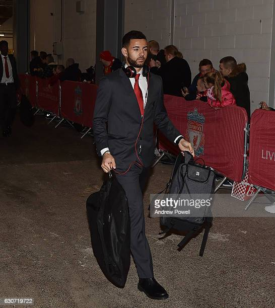 Kevin Stewart of Liverpool arrives before the Premier League match between Liverpool and Manchester City at Anfield on December 31, 2016 in...
