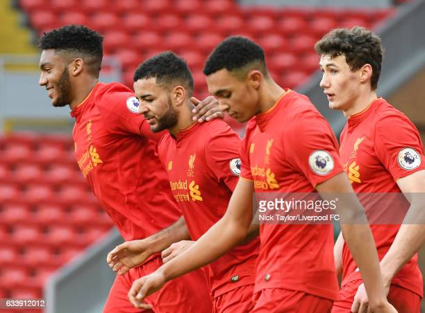 Kevin Stewart of Liverpool celebrates his goal with team mates Joe Gomez Trent AlexanderArnold and Matthew Virtue during the Liverpool v Tottenham...