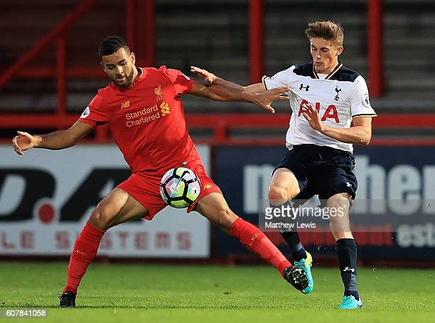 Kevin Stewart of Liverpool holds off Joe Pritchard of Tottenham during the Premier League 2 match between Tottenham Hotspur and Liverpool at The...