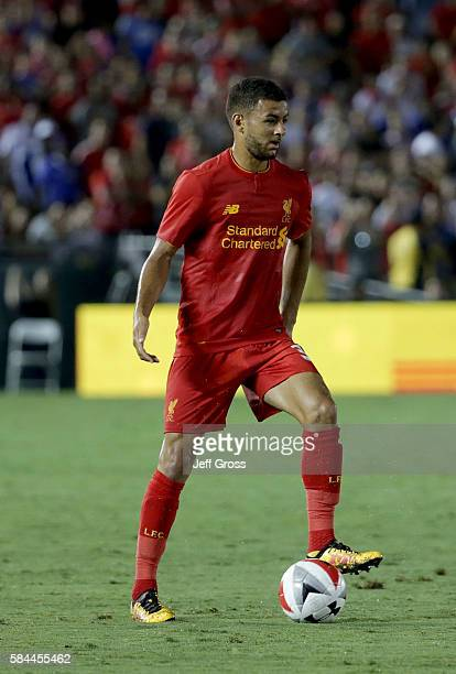 Kevin Stewart of Liverpool in action against Chelsea during the 2016 International Champions Cup at Rose Bowl on July 27 2016 in Pasadena California