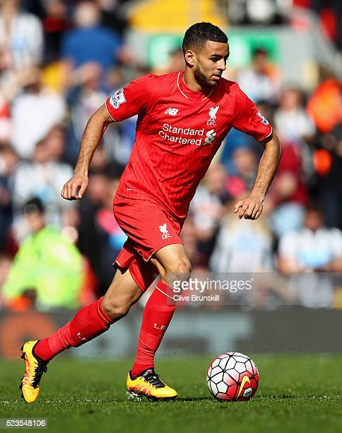 Kevin Stewart of Liverpool in action during the Barclays Premier League match between Liverpool and Newcastle United at Anfield on April 23 2016 in...