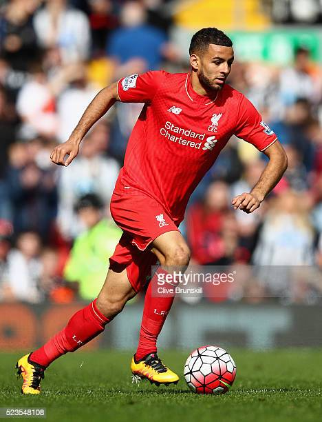 Kevin Stewart of Liverpool in action during the Barclays Premier League match between Liverpool and Newcastle United at Anfield on April 23, 2016 in...