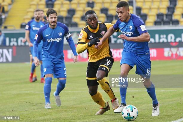 Kevin Stoeger of Bochum Erich Berko of Dresden and Jan Gyamerah of Bochum battle for the ball during the Second Bundesliga match between SG Dynamo...
