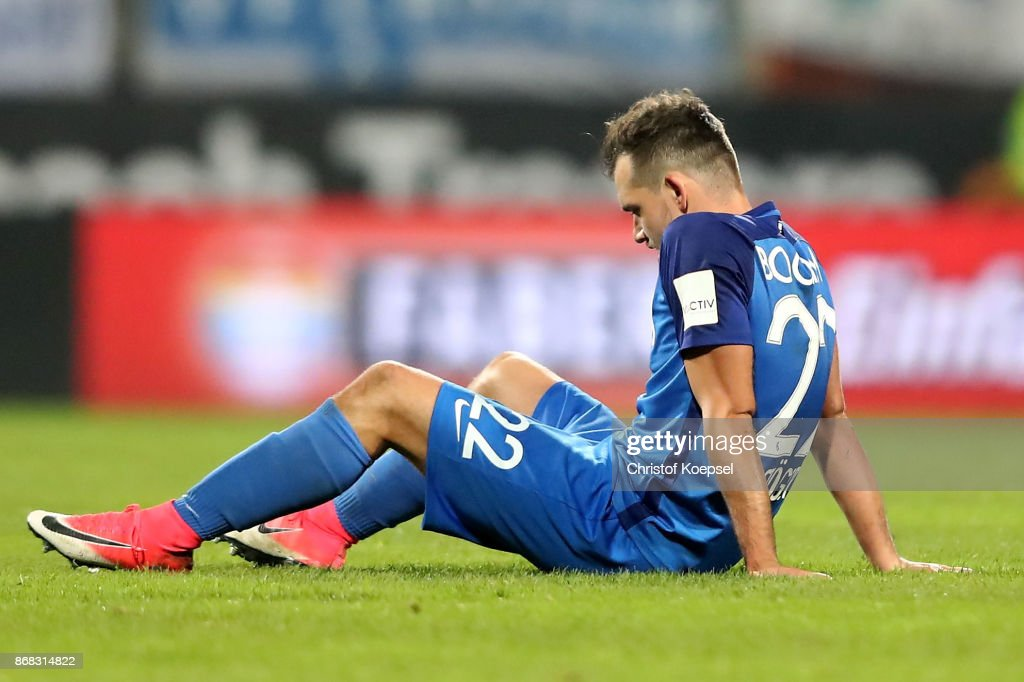 Kevin Stoeger of Bochum sits on the pitch during the Second Bundesliga match between VfL Bochum 1848 and Fortuna Duesseldorf at Vonovia Ruhrstadion on October 30, 2017 in Bochum, Germany. The match between Bochum and Duesseldorf ended 0-0.