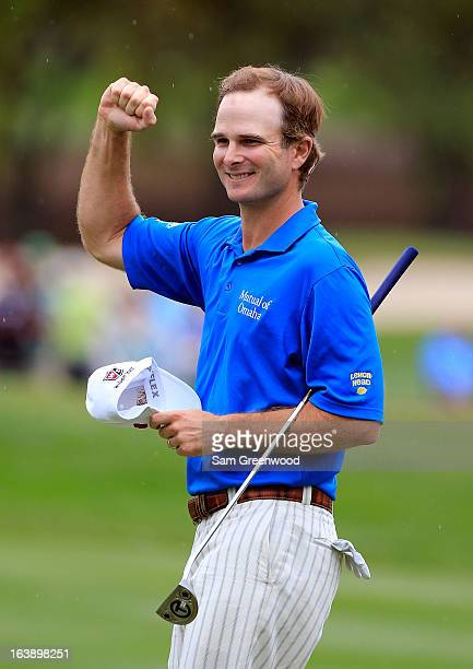 Kevin Streelman celebrates after winning the Tampa Bay Championship at the Innisbrook Resort and Golf Club on March 17 2013 in Palm Harbor Florida