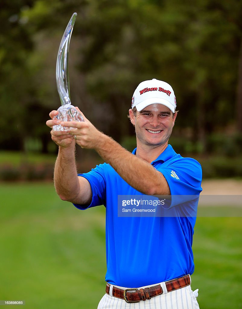 Kevin Streelman holds the trophy after winning the Tampa Bay Championship at the Innisbrook Resort and Golf Club on March 17, 2013 in Palm Harbor, Florida.