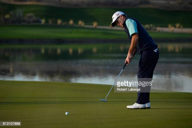 Kevin Streelman misses a birdie putt on the 11th hole during the first round of the Waste Management Phoenix Open at TPC Scottsdale on February 1...