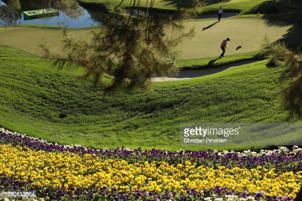 Kevin Streelman of the United States chips onto the 18th green during the third round of the CJ Cup @ Shadow Creek on October 17, 2020 in Las Vegas,...