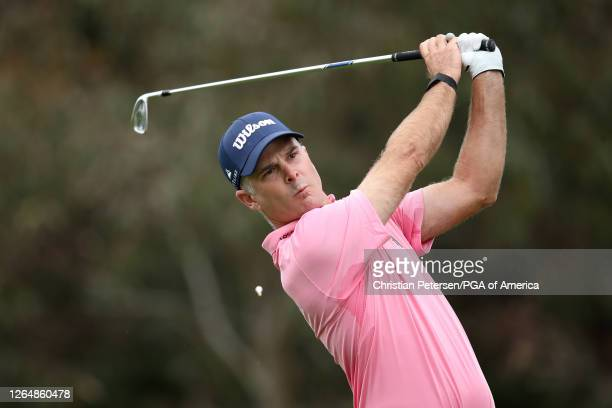 Kevin Streelman of the United States plays a shot from the 11th tee during the final round of the 2020 PGA Championship at TPC Harding Park on August...