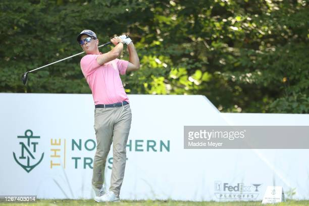 Kevin Streelman of the United States plays his shot from the fifth tee during the first round of The Northern Trust at TPC Boston on August 20, 2020...
