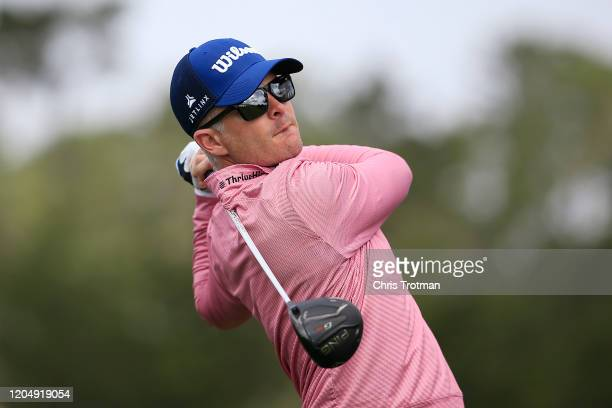 Kevin Streelman of the United States plays his shot from the tenth tee during the third round of the AT&T Pebble Beach Pro-Am at Pebble Beach Golf...