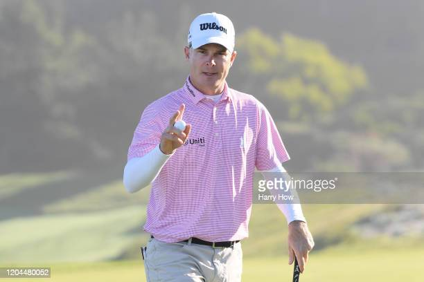 Kevin Streelman of the United States reacts on the second green during the during the first round of the AT&T Pebble Beach Pro-Am at Spyglass Hill...