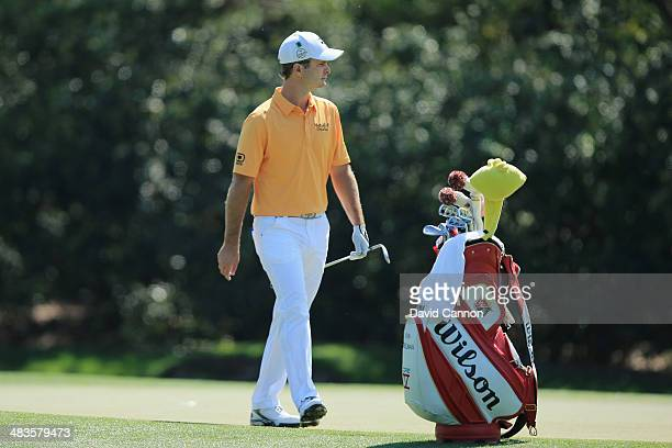 Kevin Streelman of the United States walks across a green during a practice round prior to the start of the 2014 Masters Tournament at Augusta...