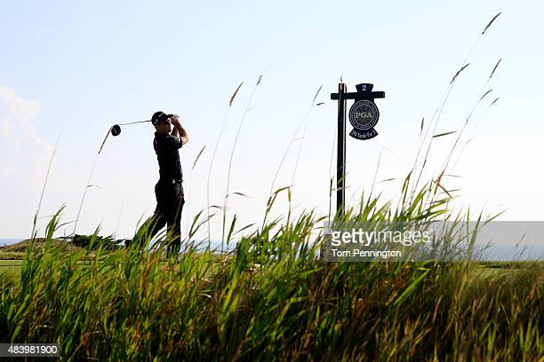 Kevin Streelman of the United States watches his tee shot on the second hole during the second round of the 2015 PGA Championship at Whistling...