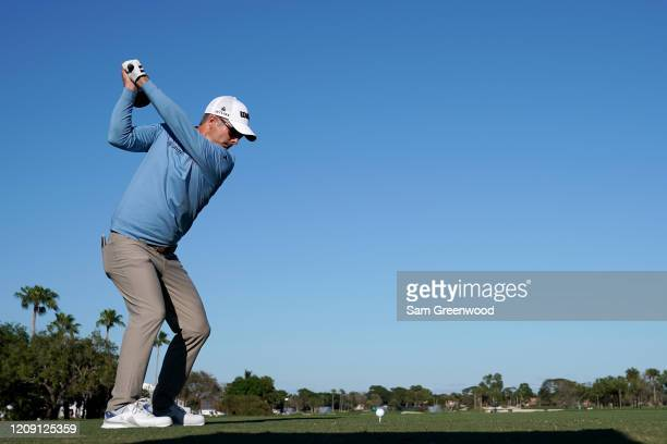 Kevin Streelman plays a shot on the 18th hole during the first round of the Honda Classic at PGA National Resort and Spa Champion course on February...