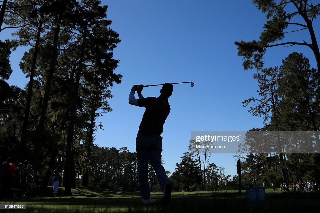Kevin Streelman plays his shot from the 17th tee during Round One of the AT&T Pebble Beach Pro-Am at Spyglass Hill Golf Course on February 8, 2018 in Pebble Beach, California.