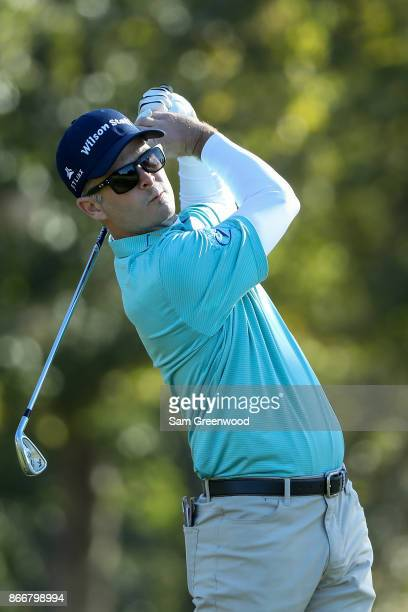Kevin Streelman plays his shot from the seventh tee during the First Round of the Sanderson Farms Championship at the Country Club of Jackson on...