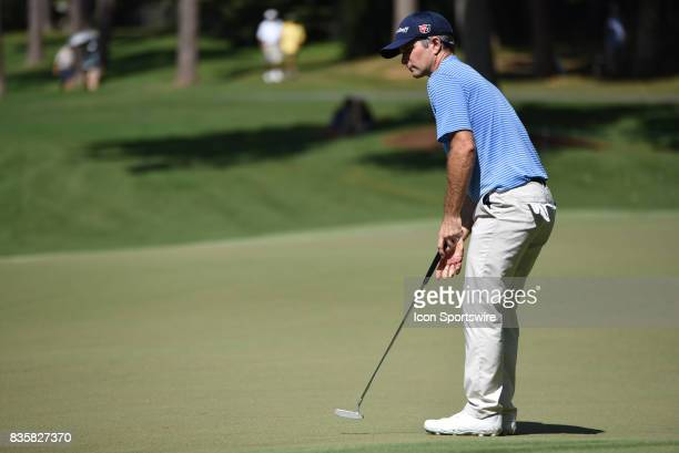 Kevin Streelman putts on the 5th hole during the first round of the Wyndham Championship on August 18 2017 at Sedgefield Country Club in Greensboro NC