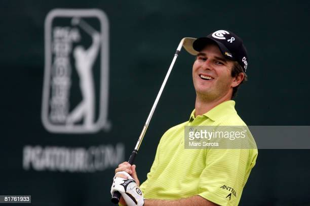Kevin Streelman reacts to his sand shot on the 18th hole during the final round at the Buick Open at Warwick Hills Country Club on June 29 2008 in...