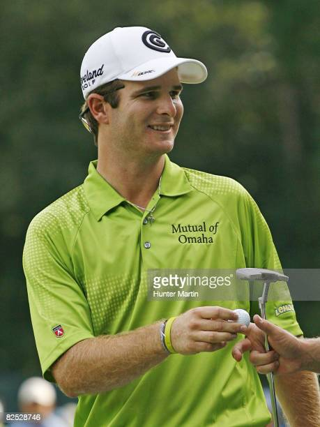 Kevin Streelman smiles after making a birdie on the 16th hole during the third round of The Barclays at Ridgewood Country Club on August 23 2008 in...