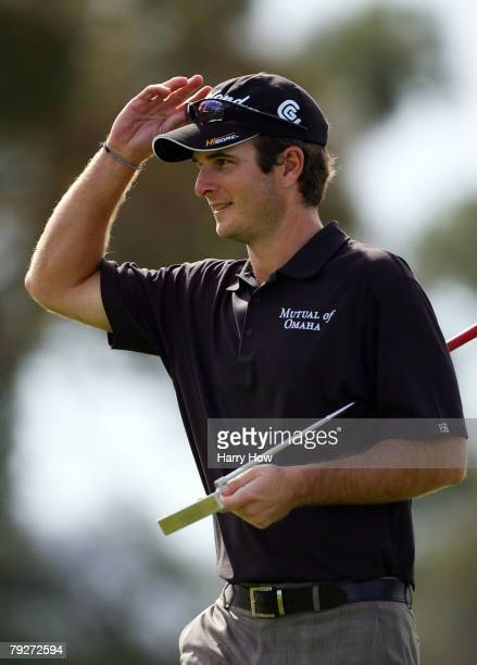 Kevin Streelman smiles as he leaves the sixth green during the third round of the Buick Invitational at the Torrey Pines Golf Course January 26, 2008...